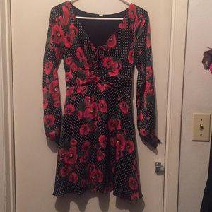 Free people black red floral silky 2 dress